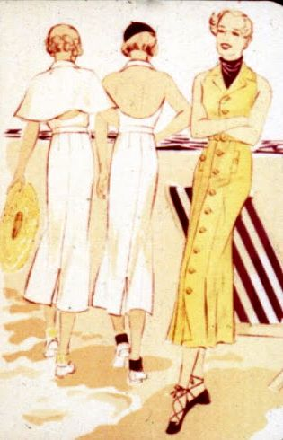 1930s backless seaside frocks