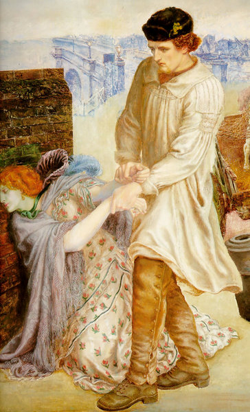 Detail of Found by Dante Gabriel Rossetti showing a shepherd wearing a smock-frock, 1850