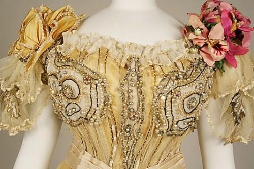 Detail of silk evening dress, Duval and Eagan (American), ca. 1889 Metropolitan Museum of Art