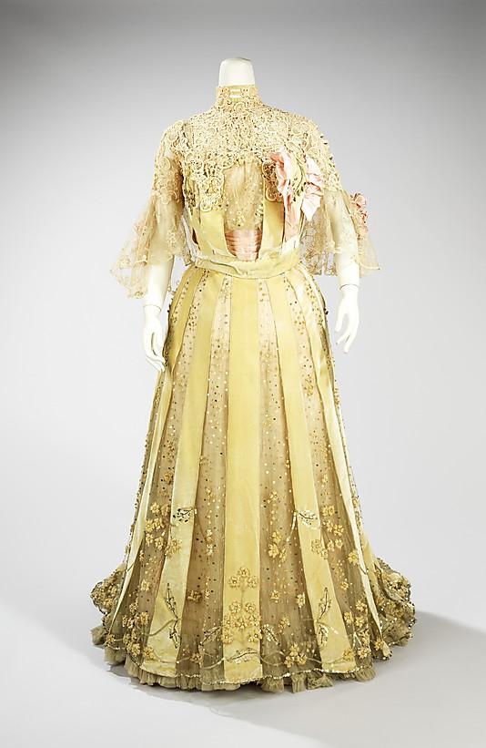 Evening dress, Jacques Doucet, ca. 1902, French, silk, linen, Metropolitan Museum of Art