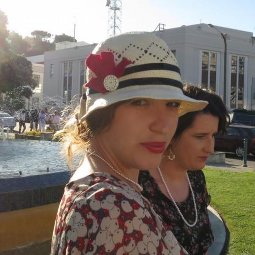 Little bit of red dress & embellished hat