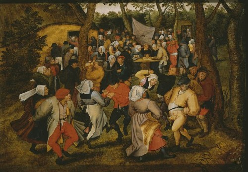 Pieter Brueghel the Younger or workshop (1564–1638), Peasant Wedding Dance, Replica of a lost work of Pieter Bruegel I, known from an engraving by Pieter van der Heyden, 1610