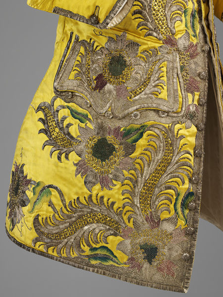 Waistcoat, England, Date- 1730-1739 (made) Silk satin, silver thread, spangles, silk thread; hand-sewn and hand-embroidered, V&A