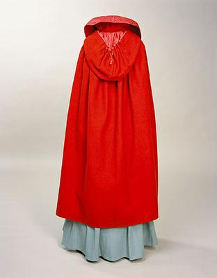 Woollen cloak with silk lining worn in Mobberley in Cheshire by a country bride arriving for her wedding, ca 1800, Manchester City Galleries