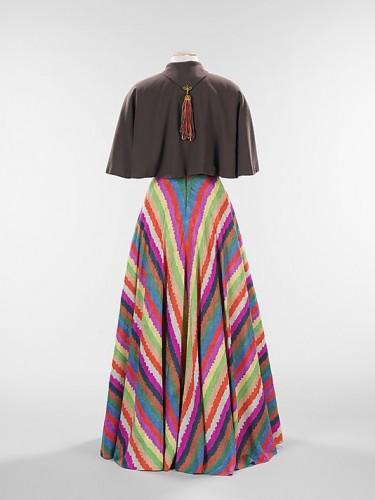 """""""Alimony"""" dress worn with """"Misadventure"""" cape, Elizabeth Hawes (American, 1903–1971), 1937, American, silk, wool, Metropolitan Museum of Art"""