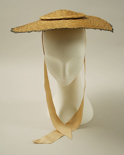 Bergère hat, 18th century, British, straw, Metropolitan Museum of Art