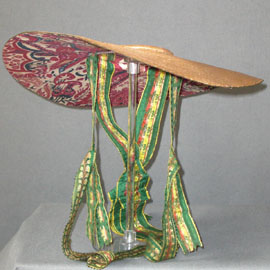 Bergére hat, 1780s, lined with ca 1715 Coromandel Coast chintz, Meg Andrews