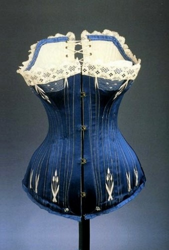 Corset in blue silk, circa 1890