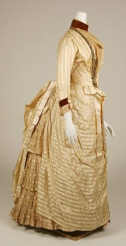 Dress, ca. 1886, American, silk, metallic thread, beads, Metropolitan Museum of Art