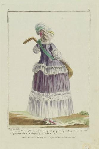 """Gallerie des Modes et Costumes Francais. """"Femme en Caraco plissé de taffetas changeant gorge de pigeon.."""" 1778, MFA Boston"""