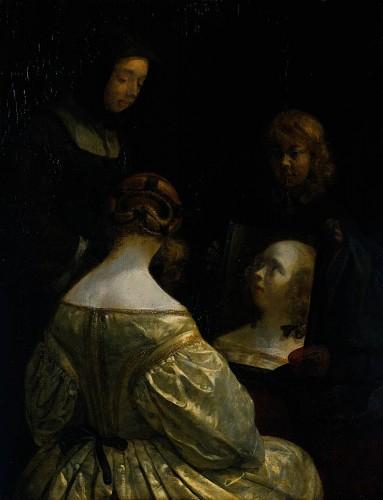 Gerard Terboch, Woman at a Mirror, 1650