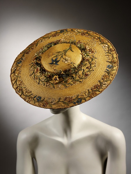 Bergére hat, 1760, straw with embroidered decorations,Victoria and Albert Museum