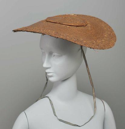 Hat (bergère) French, 18th century, Straw with straw appliqué, MFA Boston
