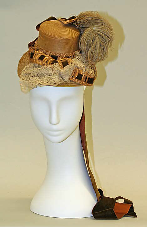 Hat, ca. 1879 American straw, silk, Metropolitan Museum of Art