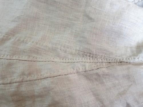 Hand sewn, flat felled skirt gores