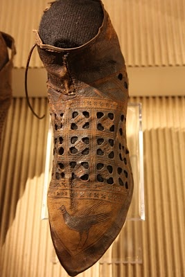 Leather shoe with punchwork and bird decoration, Dutch (Haarlem), c. 1300-1350