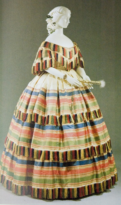 Evening dress in two parts, made in New York, 1856-58