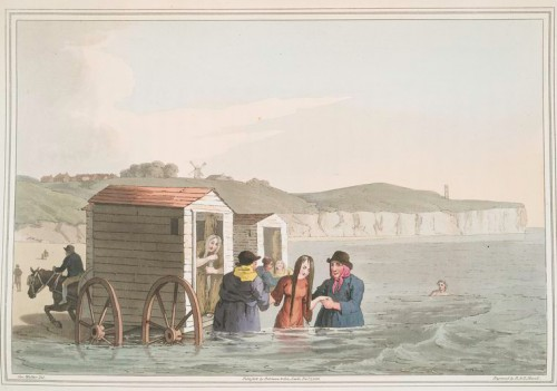 "'Sea Bathing' 1813 From ""The costume of Yorkshire, illustrated by a series of forty engravings, being fac-similes of original drawings"" NYPL"