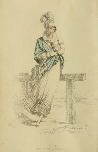 Ackermann's fashion plate 4, Seaside walking Dress, 1815