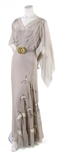 Day Dress,  probably 1930s,  bias cut with bird appliques along skirt, lesliehindman.com