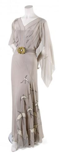 Day Dress,  probably 1930s,  bias cut with bird appliques along skirt, lesliehindman.com