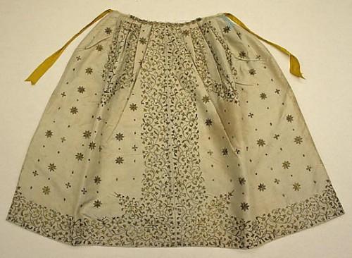 Apron, 18th century, British, silk, metallic, Met