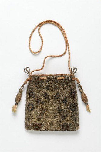 Bag, Great Britain, UK, Linen, silk, silver and silver-gilt threads; hand sewn, hand embroidered, hand plaited, V&A