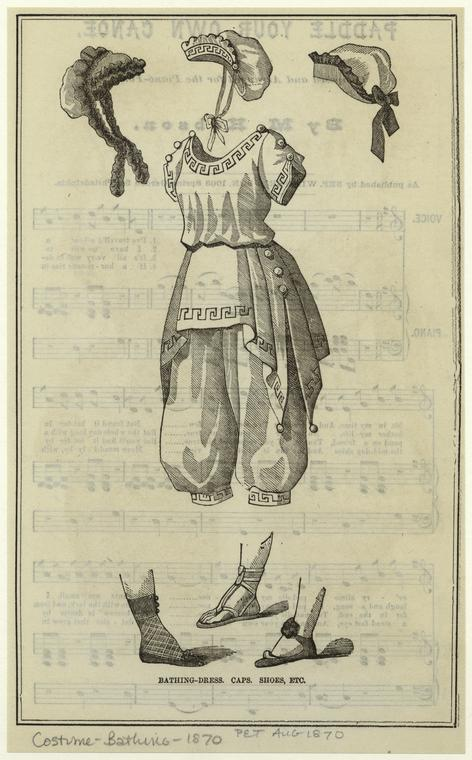 Bathing-dress ; Caps ; Shoes, etc. Aug.1870. From The Peterson magazine, NYPL Digital Collection
