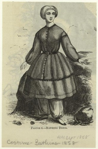 Bathing dress. Sept. 1858. Harper's magazine, NYPL Digital Collection