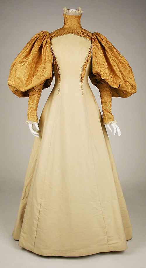 Bridesmaid dress, House of Worth (French, 1858–1956), silk with pearl trim, 1896, American, Metropolitan Museum of Art
