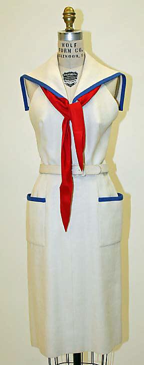 Dress, Traina-Norell (American, founded 1941), Norman Norell, 1954, linen, silk, Metropolitan Museum of Art