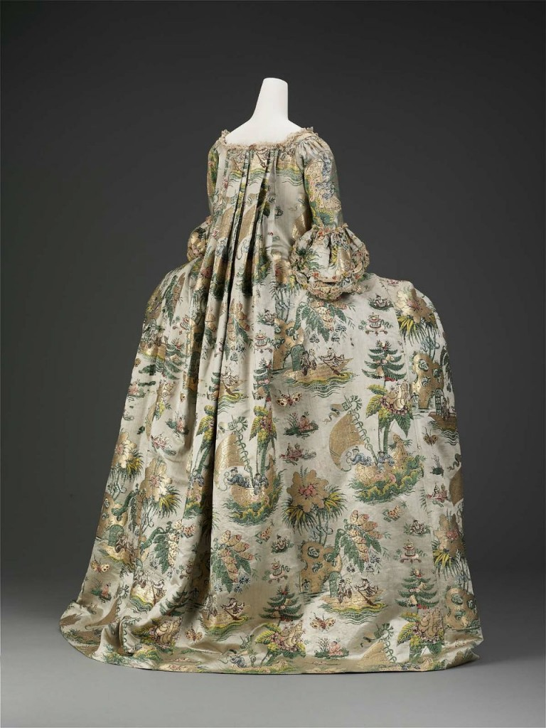 Dress, petticoat, and stomacher (dress) possibly Dutch, About 1735; dress restyled about 1770 France, Museum of Fine Arts, Boston