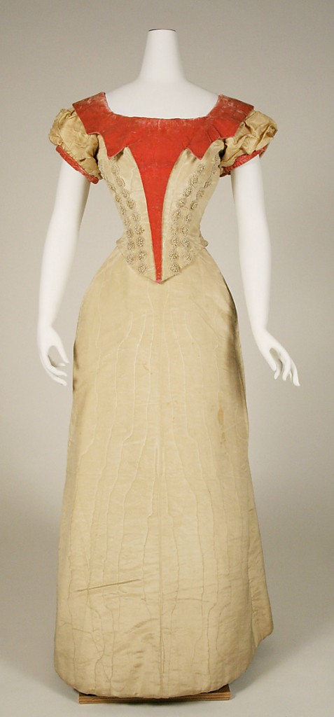 Evening dress, 1891–92, British, Silk, Metropolitan Museum of Art