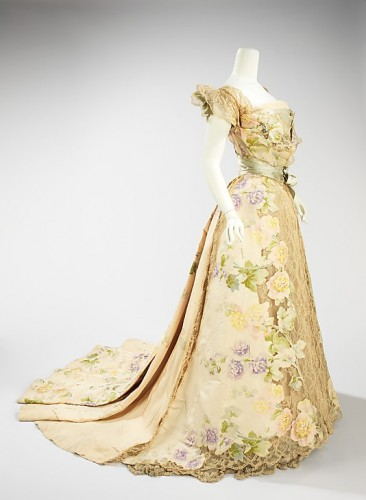 Evening dress, House of Worth, Jean-Philippe Worth, 1902, French, silk, rhinestones, metal, Metropolitan Museum of Art