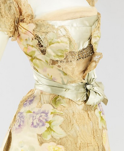 Evening dress (detail of bodice), House of Worth, Jean-Philippe Worth, 1902, French, silk, rhinestones, metal, Metropolitan Museum of Art