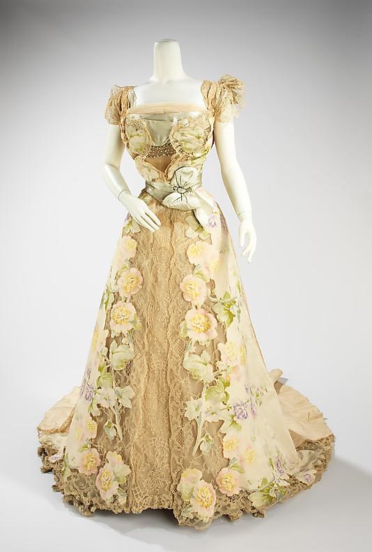 Evening dress House of Worth, Jean-Philippe Worth, 1902, French, silk, rhinestones, metal, Metropolitan Museum of Art