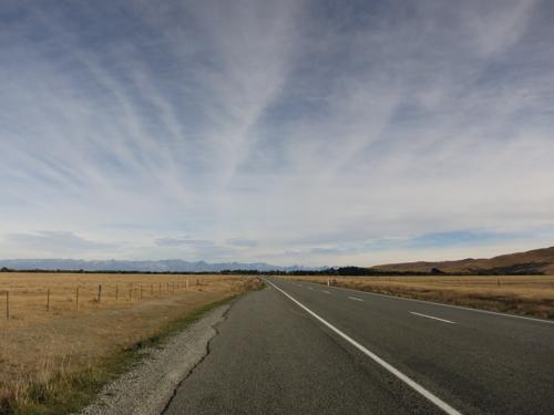 Road stretching away, Mackenzie District, South Island, New Zealand