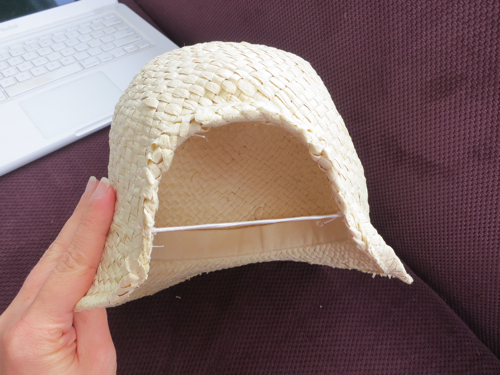 Hat elastic sewn across the curve of theback fold up