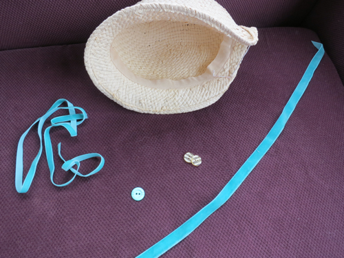 Hat and potential hat trims: ribbon and buttons