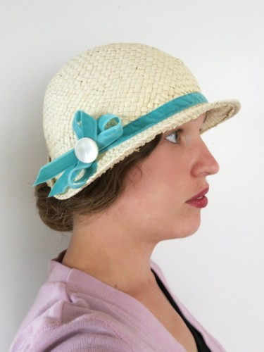 Modern straw fedora reshaped as '20s style cloche