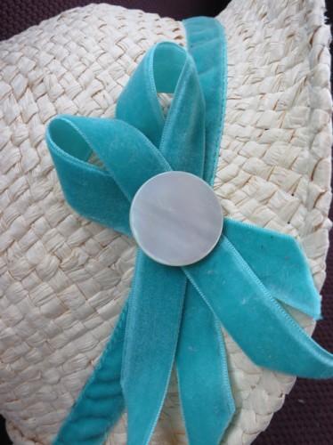 Two loops of velvet ribbon