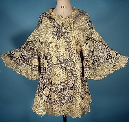 Jacket of battenberg lace, ca 1905, Antique Dress