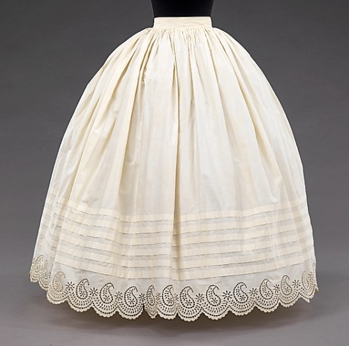 Petticoat, 1855–65, American, cotton, Metropolitan Museum of Art
