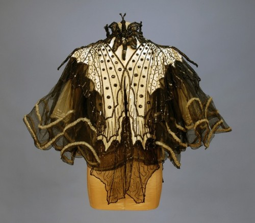 Pingat Jet Beaded Butterfly Evening Cape (back), 1890's
