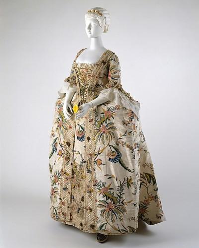 Robe à la Française, 1740s, British, silk, pigment, linen, Met