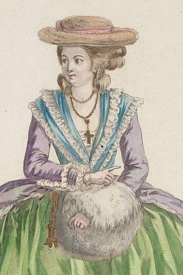 Robe de matin à l'Anglaise avec des manches en amadis jupon coupé à grand volant de mousseline fichu à double garniture Cette femme est coëffée d'un chapeau de Vegogne a long poil avec un ruban au tour, Gallerie des Modes, 1782, MFA Boston