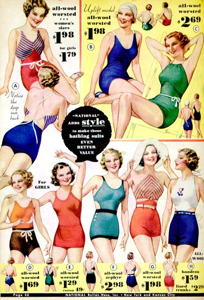 Swimwear 1934, via Wearing History
