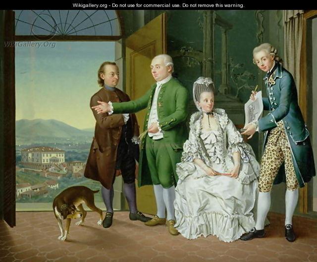 An interior with elegant company, Venceslao Verlin, 1768
