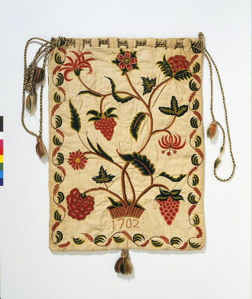 Workbag, 1701,  linen with wool crewel embroidery, V&A