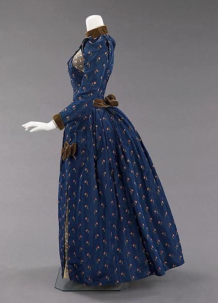 Afternoon-dress, ca.-1888, American, silk, linen, cotton, Metropolitan Museum of Art, 2009.300.502a–c